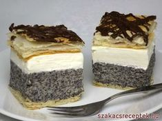 Mákos krémes Hungarian Desserts, Hungarian Recipes, Russian Recipes, Low Carb Desserts, No Bake Desserts, Dessert Recipes, Cake Bars, Salty Snacks, Sweets Cake