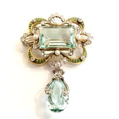 Important Art Nouveau Brooch~ Large Aquamarine set in 18k gold with gold and diamond mount; large aquamarine briolette drop.