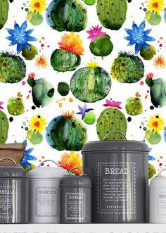 Cactus en haoss acuarela fondos /Cactus fondo extraíble/Cactus quitar pared mural wallpaper/cactus/fondo de pantalla Nr S061