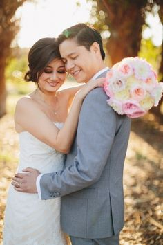 Romantic bride and groom on their wedding day.