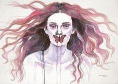 Retrato de mujer  en acuarela