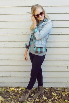 fall outfit denim jacket plaid shirt plain grey v neck jeggings suede ankle boots thrift thrifted sunnies beauty and bows fashion style 2 Me...