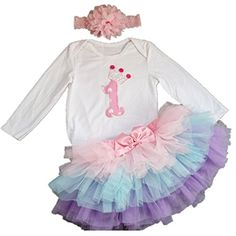 AISHIONY Baby Girl 1st Birthday Tutu Outfit Long Sleeve Princess Dress 3PCS XL >>> Want to know more, click on the image. (This is an affiliate link) #BabyGirlClothingSets