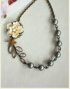 Vintage Inspired Ivory Sakura Flower,  Green Swarovski Pearls Necklace. Bridesmaid Gift. Nature Inspired. Garden Wedding. Green Wedding.