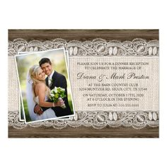 Rustic Country Photo Post Wedding Reception Card