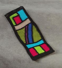 stained glass crochet cuff