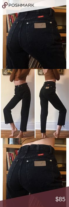 "🍁Vintage Wrangler Jeans 26🍁 SUCH A GEM! These black Wrangler jeans are beautiful quality vintage! These actually hug your butt! They're nice and high rise and have cut off and frayed hems. I'm 5'9"" for reference. Waist 25.75"" Rise 11.5"" Inseam 28"". Don't pass these up! Not Levi's. Always cheaper on ♏️! Levi's Jeans"