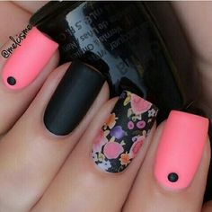 Matte coral pink & black with accent nail.