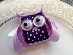Items similar to Purple Owl Hair Bow Clip - Toddler Hair Clip - Baby Hair Bow - Ribbon Sculpture - Infant Hair Clip - Hair bow -Purple on Etsy Purple Owl Hair Bow Clip - Cloer this is too cute and looks so easy to make! Ribbon Hair Clips, Ribbon Hair Bows, Hair Barrettes, Hairbows, Headbands, Toddler Hair Clips, Baby Hair Clips, Baby Hair Bows, Ribbon Sculpture