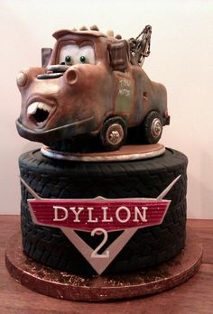 Mater on a tire cake all finished...the customer loved it!