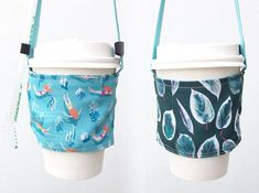 Items similar to Coffee sleeve, coffee cozy, Take out coffee carrier, cup cozy swimming leaf, beach gift for her bridesmaid gift best friend gift on Etsy Tea Holder, Coffee Cup Holder, Drink Holder, Cup Holders, Handmade Desks, Crochet Cup Cozy, Dog Clothes Patterns, Coffee Sleeve, Reusable Cup