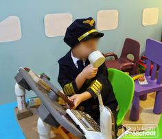 How to set up an Airport Dramatic Play center in an Early Childhood Classroom.  Tons of pictures and ideas.