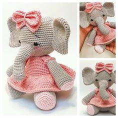 Crochet Elephant Pattern Free, Crochet Amigurumi Free Patterns, Crochet Animal Patterns, Stuffed Animal Patterns, Knitted Dolls Free, Crochet Baby Toys, Crochet Bunny, Cute Crochet, Crochet Doll Tutorial