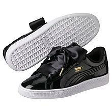 Basket Heart Patent Women's Trainers: The Basket Heart Patent sees satin bow lacing grace our basketball icon, the PUMA Basket. Synthetic upper. Padded collar and tongue for increased comfort. Woven lace plus satin lace as an additional option. Rubber cupsole.