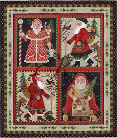 "~""Woodland Santa"" needlepoint 12.75""w x 15""h Kelly Clark"