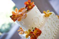 Orange & Yellow Wedding Cake Flowers by Blume Events www.idoaz.com