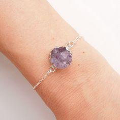 Raw Amethyst Druzy Bracelet in Silver  OOAK Jewelry  by 443Jewelry