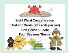 Bundle of First Grade Sight Word Printable Concentration Games- Four Seasons from Mrs. Mc's Shop on TeachersNotebook.com -  - This bundle offers a fun way for your first grade students to practice their sight words through the school year. This collection of games can be used as part of a center, in small groups for practice, or by one student.   There are eight sets of cards us