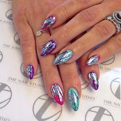 Neon Acrylic Nails, Gel Nails, Chrome Nails, Gel Nail Designs, May 7th, Nails Inspiration, Iridescent, Hair Beauty, Nail Art