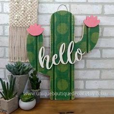 Summer Door Decorations Classroom Etsy Ideas For 2019 Summer Door Decorations, Cactus Decor, Cactus Art, Boutique Decor, Southwest Decor, Rustic Wood Signs, Room Doors, Front Door Decor, Hello Spring