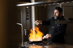 Chef Spyros Asimis bringing the heat on every night in Ithaki kitchen.