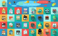 Store and shop buildings flat icons. on Behance