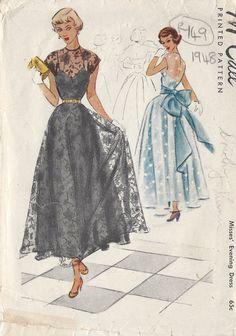 "1948 Vintage Sewing Pattern B32"" EVENING DRESS (R149) | eBay"