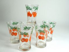 Federal Orange Juice Glasses ~ We had several sets of these glasses and the orange juice decanter, too!! LOVE!!!