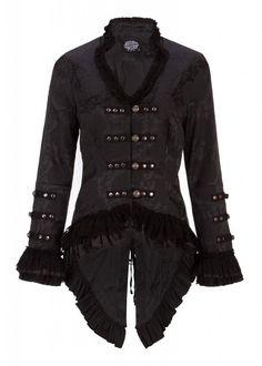 Elegante schwarze viktorianische Gothik Jacke mit schwarzer Spitze und Verzierungen: Amazon.de: Bekleidung