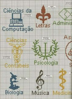 Profissões Cross Stitch Music, Mini Cross Stitch, Cross Stitch Charts, Cross Stitch Patterns, Diy Embroidery, Cross Stitch Embroidery, Medical Symbols, Seed Bead Jewelry, Perler Beads