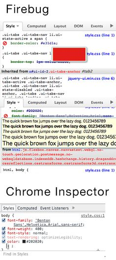 Firebug gives preview for font or color, and Chrome Inspector doesn't - I guess that's one of the reasons why I love Firebug more.