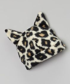 Leopard Fleece Beanie with ears