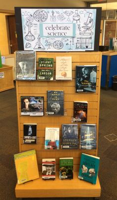 We're celebrating science this month at Lackman! School Library Themes, School Library Displays, Middle School Libraries, Library Activities, Elementary Library, Library Inspiration, Library Ideas, Library Books, Friends Of The Library