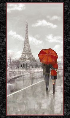 """Artworks - Couple in Paris - 24"""" x 44"""" PANEL - DIGITAL PRINT - Quilt Fabrics from www.eQuilter.com"""