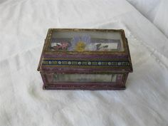 Dresden Germany Candy Container Casket Christmas Valentine Rare 19th C Glass Top