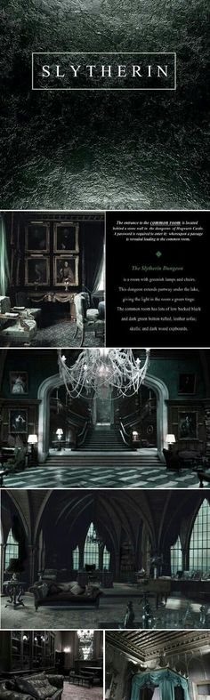 Slytherin Dungeon - looks a lot like Malfoy Manor Harry Potter World, Harry James Potter, Harry Potter Universal, Harry Potter Fandom, Slytherin House, Slytherin Pride, Hogwarts Houses, Slytherin Quotes, Ravenclaw