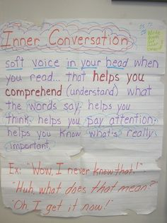 Inner Conversation [Helping students attend to their inner thoughts as they read is critical to monitoring comprehension.]