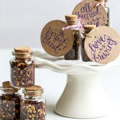 A unique custom made spiced tea infusion for your wedding. Samples will be sent and custom blends can be made!   Spice Kitchen are proud to offer wedding couples a chance to create their own spiced tea blend for their guests. A range of loose teas are available and an unlimited number of spice combinations as well.   Each blend will be beautifully presented in a corked bottle, with string and a tag that can be personalised for you and your day. We can work with you to customise stickers or…