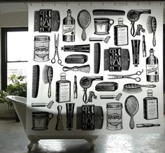 PEVA barbershop shower curtain  ~ Izola  looking more at the graphic quality