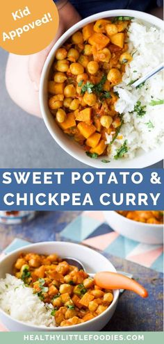 This Sweet Potato Chickpea Curry is a quick and easy vegetarian meal that the whole family will enjoy. The sweet potato Vegetarian Kids, Quick Vegetarian Meals, Easy Vegetarian Curry, Vegetarian Sweets, Sweet Potato Chickpea Curry, Baby Food Recipes, Healthy Recipes, Baby Recipes, Sweets Recipes