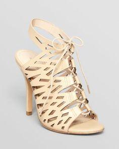 Pour La Victoire Open Toe Lace Up Sandals - Yermark High Heel
