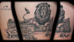 Black and Gray Lion Laying on a Column Tattoo by NY Nic at BLTNYC Tattoo Shop Queens #animaltattoo #liontattoo #blackandgray #tattoo
