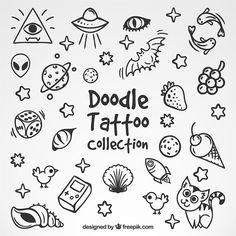 Coleção de bom desenhos tatuagens Vetor grátis