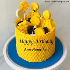 we are providing you Happy Birthday wishing Cake with name editor option. It is one of best ways to give online birthday wishes to your dear birthday girl and boy. So just use this beehive themed Happy Birthday Cake with Name image. Birthday Wishes With Name, Happy Birthday Greetings, Happy Birthday Cakes, Birthday Greeting Cards, Girl Birthday, Greeting Card Maker, Online Greeting Cards, Cake Name, Cakes For Boys