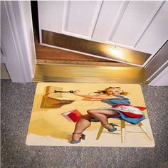 GIL ELVGREN PIN UP CALL BEDROOM CARPET BATH OR DOORMATS