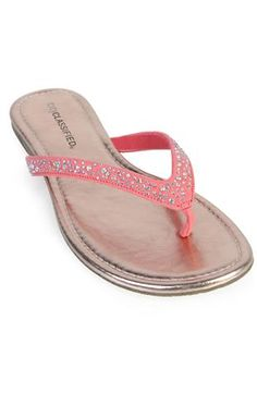 colored thong sandal with stones