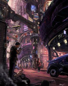 Ideas science fiction illustration cyberpunk posts for 2019 Cyberpunk City, Cyberpunk Kunst, Futuristic City, Cyberpunk Anime, Sci Fi Environment, Environment Design, Future City, Fantasy Landscape, Fantasy Art