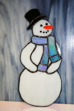 Mr. Frosty  Stained Glass Snowman with Blue by ArtfeltGlass, $28.00