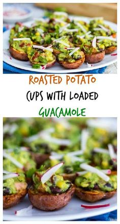Roasted Potato Cups with Loaded Guacamole.  Easy to make a delicious to eat! (gluten free, vegan)