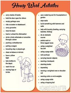 Printouts for heavy work activities Proprioceptive Activities, Occupational Therapy Activities, Sensory Therapy, Proprioceptive Input, Sensory Disorder, Sensory Processing Disorder, Babysitting Activities, Work Activities, Oral Motor Activities